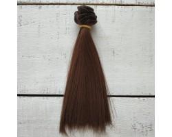 Трессы прямые 15 см темно-коричневые №8