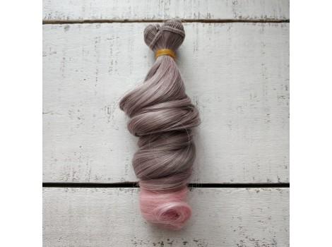 Трессы крупный локон серо-розовые омбре №171ТТ2333
