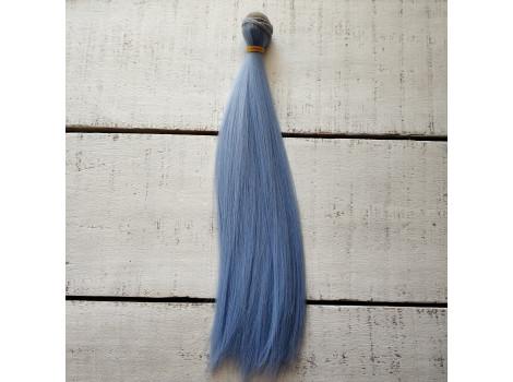Трессы прямые 25 см пыльно-голубые