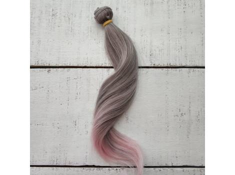 Трессы легкая волна серо-розовые омбре №171ТТ2333