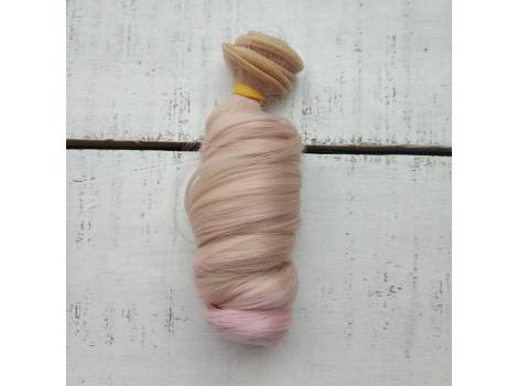 Трессы крупный локон бежево-розовый омбре №Т0915ТТ2334