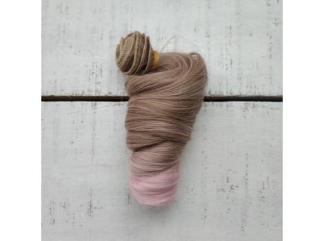 Трессы крупный локон русый с розовым омбре №623ТТ2334