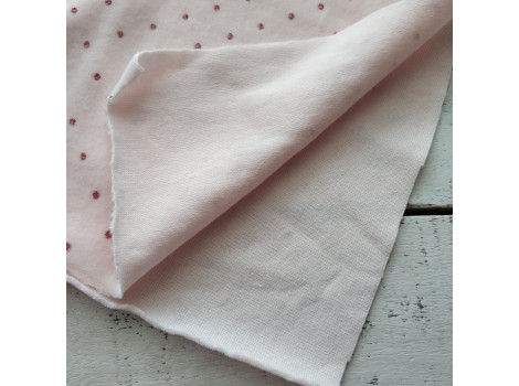 Трикотаж плюш розовый с глиттером