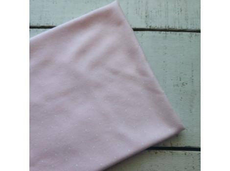 Трикотаж интерлок розовый в белый горошек