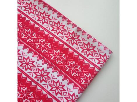 Трикотаж футер с орнаментом красно-белый