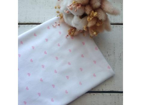 Трикотаж интерлок розовые сердечки на белом