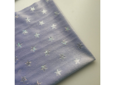 Плюш сиреневый с серебристыми звездочками