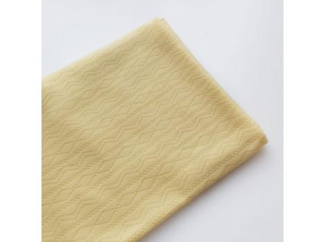Трикотаж интерлок ажурные полоски желтый