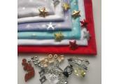 Плюш мятно-голубой с золотистыми звездочками