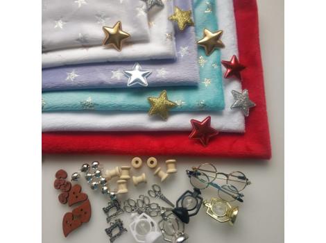 Плюш белый с золотистыми звездочками