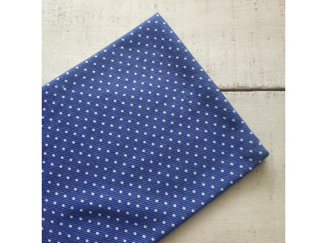 Трикотаж кулирка горошек-пшено синий джинс