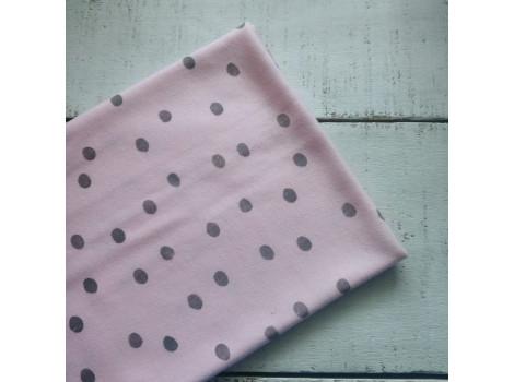 Трикотаж интерлок розовый в серый горошек 7мм