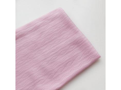 Трикотаж интерлок ажурные полоски розовый