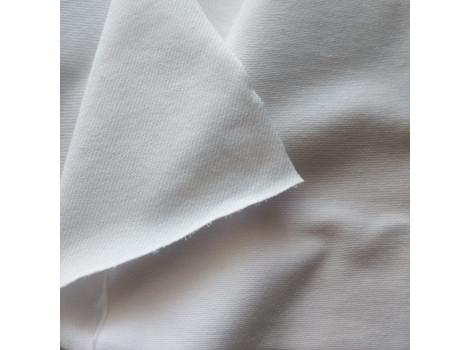 Трикотаж однотонный футер двунитка белый джинс