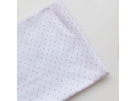 Трикотаж интерлок белый с лиловыми звездочками
