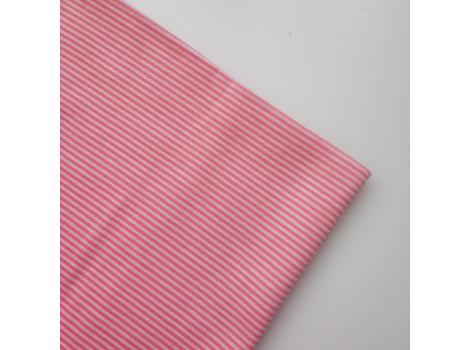 Трикотаж интерлок розовая узкая полоска