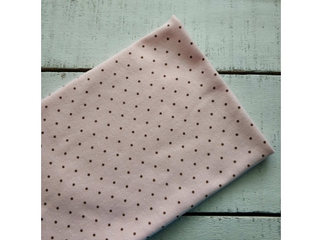 Трикотаж интерлок розовый с коричневыми горошками