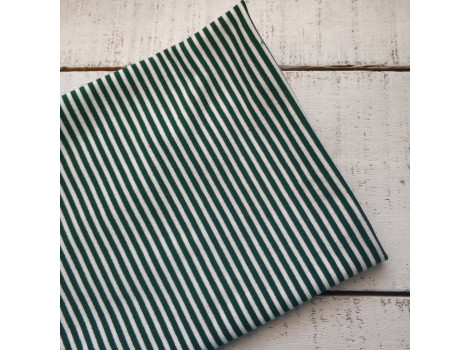 Трикотаж полоска узкая темно-зеленая