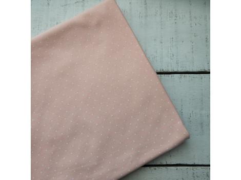 Трикотаж интерлок персиково-розовый в белый горошек