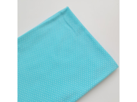 Трикотаж кулирка горошек-пшено мятно-голубой