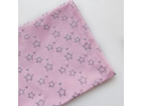 Трикотаж кулирка серебряные звезды на розовом