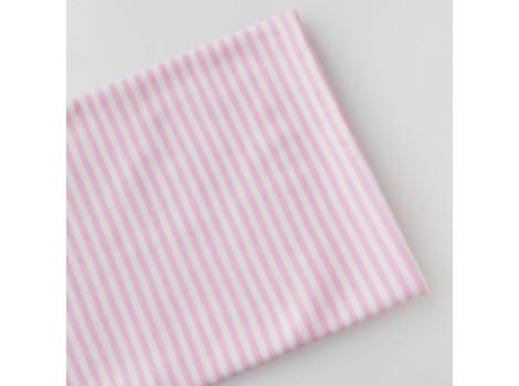 Трикотаж интерлок бело-розовая полоска 3 мм