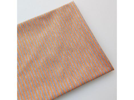 Трикотаж кулирка серо-оранжевая полоска 2 мм