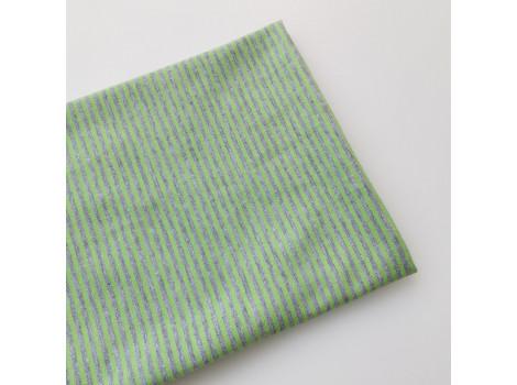 Трикотаж кулирка серо-салатовая полоска 2 мм