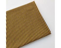 Трикотаж кулирка желто-темно-коричневая полоска 2 мм