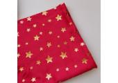 Плюш красный с золотистыми звездочками