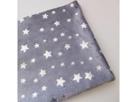 Плюш серый с серебристыми звездочками