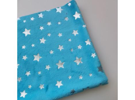Плюш голубой с серебристыми звездочками
