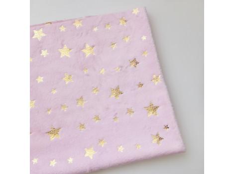 Плюш нежно-розовый с золотистыми звездочками