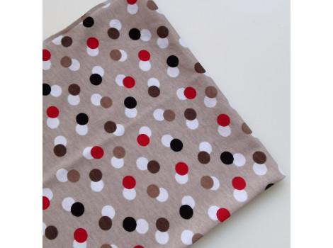 Трикотаж кулирка цветные горошки на серо-коричневом фоне